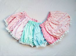 Wholesale Girls Sexy Design Clothes - Kawaii Summer Candy Color Casual Shorts White Ruffles Design Shorts Pink Sexy Lolita Clothes Candy For Young Girls