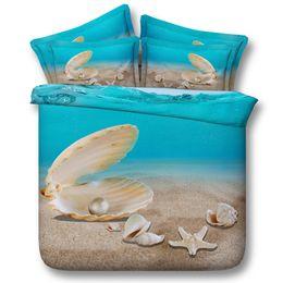 3D Weihnachten Perle Bettbezug Seestern Bettwäsche-Sets Tagesdecken Urlaub Bettbezüge Bettwäsche Kissenbezüge Ozean Strand Thema Königin von Fabrikanten