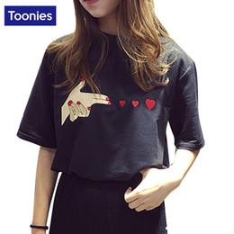 Wholesale Korean Tee Shirts Wholesale - Korean Style Ulzzang Top T Shirt Women Embroidery Short Sleeve BF Wind Female T-shirt Loose Harajuku Summer Shirt Camiseta Tee