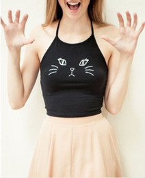 Wholesale Cat Crop Top - Summer Camis Sexy Women Ladies Sleeveless Crop Tops Cute Cat Printed Halter Vest Tops Plus Size Blusas S-XL