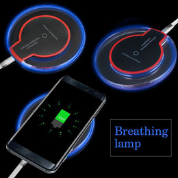 lighted iphone charging cable Coupons - Qi Wireless Charger for iPhone 11 XS Max XR Samsung Galaxy S10 Note10 Crystal LED Light Mini Fast Charging Pad With Charging Cable