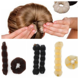 Wholesale Ladies Bun - 2Pcs Set Women Ladies Magic Style Hair Styling Tools Buns Braiders Curling Headwear Hair Rope Band Accessories