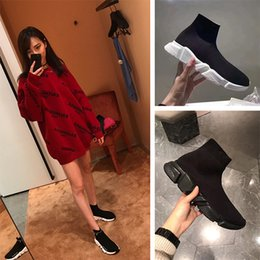 Grüne glitter flache schuhe online-Balenciaga Sock shoes Luxury Brand   frauen Speed ​​Trainer mode Luxus Socken Schuhe schwarz weiß glitter grün Flache herren Trainer Runner turnschuhe größe 36-46