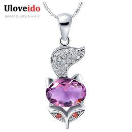 cheap purple necklaces UK - Silver Long Necklaces Cheap Jewelry Purple Imitation Diamond Fox Shape Bijoux Collares Plateados N793