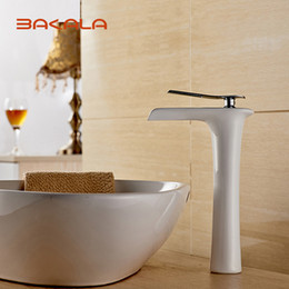 Wholesale White Bathroom Taps - BAKALA Spray Painting Bathroom White Faucet Single Handle Vanity Sink Mixer Tap,New Fashion Rocker Faucet with Hot&Cold Water