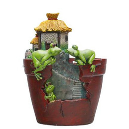 Wholesale Chinese Vase China - Roogo 2018 new products resin fairy lovely log cabin kits garden decorative round flower box flower pots made in China