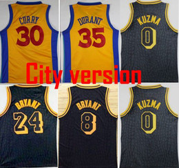 Wholesale College Yellow - 2018 Men City version Jerseys 24 Kobe Bryant 0 Kyle Kuzma 30 Stephen Curry 35 Kevin Durant Swingman 100% Stitched Jerseys College mixed