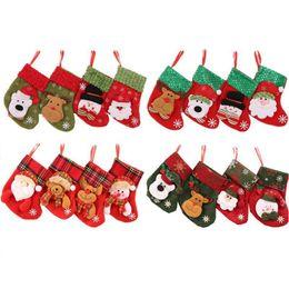 tops de mesa de escritório Desconto Meias de Natal, Decoração de Natal Enfeites De Árvore De Natal Dos Bonecos De Neve Papai Noel Meias Fontes Do Partido Brinquedos Doces Sacos de Presente Titulares