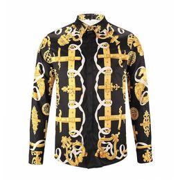 Wholesale Horse Fancy Dress - 2018 New Floral Shirt Men Luxury Men Fancy Dress Shirts Fashion Brand Designer 3d Gold Horse Shirt Casual Slim Fit Camisa Social