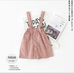 Wholesale loose suspenders girl - INS 2018 Spring kids pant girl flower spring girl Overalls little girl spring fall overall pants 2 colors