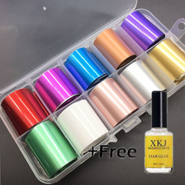 Лазерный клей онлайн-1 Box 2.5*100cm Laser Starry Holographic Nail Foil Set Nail Sticker Nails Foils Art Kits with Free Star Glue Stencil Decal