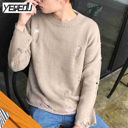 Wholesale Mens Vintage Wool Coat - #1924 Fall 2017 Hip hop knitted sweater Ripped Vintage O-neck Sweater coat High street Solid color Pullover Mens jumpers