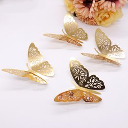 Wholesale American Papers - 12pcs Gold 3D Butterfly Wall Stickers Butterflies Hollow DIY Decals Home Wall Decoration Poster Kids Fridge Kitchen Room Party Wedding Decor