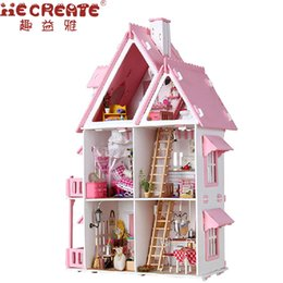 Wholesale Big Size Toys Dolls - My Little Dollhouse Fashion Doll House Furniture Girls Toy DIY Home Toys for Children Big Size Castle Handmade House Kids Gift