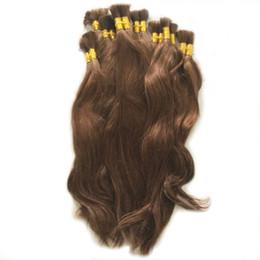 Hellbraunes flechthaar online-Natürliche Welle 100% reines Menschenhaar Bulk Glattes Haar Bulk zum Flechten Cabelo Humano Natürliche Jungfrau Remy Hellbraune Farbe Lose Haare