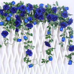 Wholesale garden wall plants - 6.5Ft Artificial Rose Vine Silk Flower Garland Hanging Baskets Plants Home Outdoor Wedding Arch Garden Wall Decor,Pack of 2 (Royal blue)