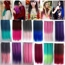 Extensiones de cabello largo colorido online-ZF Fashion Charming Colorful Hair Pieces Clips rectos sintéticos de 26 pulgadas de largo en / en la extensión del cabello