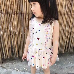 Wholesale Suspender Vest Tutu - 2018 New Girls Summer Lace Dress Kids Sequins colourful style vest dress Maxi dress