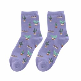 Wholesale Cute Women Girls Socks - New Fashion Plant Cactus Pattern Women Girl Comfortable Lovely Cute Socks Cotton Casual Warm Soft Socks Yellow