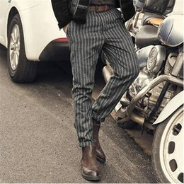 Wholesale Point Coffee - New Arrival Men Striped Pants Nine Point Pant Vintage Casual Loose Autumn Woolen Coffee Color Trousers Male A5016