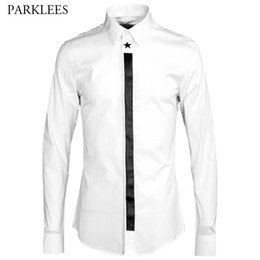 Wholesale Luxury Men Dress Shirt - Luxury Men Shirt 2017 Brand Star Printed Shirt Men Casual Turn-down Collar Camisa Masculina Long Sleeve Slim Mens Dress Shirts