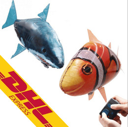 Wholesale Inflatable Clowns - Air Swimmers Flying Shark Clown Fish Remote Control Fly Clownfish blimp floating Sharks Toys Inflatable helium Balloons RC Air Swimmer Toys