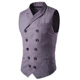 Chaleco de la manera para los hombres gris online-Chaleco para hombre Marca de moda Chaleco de los hombres de alta calidad de doble botonadura Negro Gris Hombres de negocios formales trajes aptos Blazer para