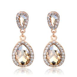 Canada Longues boucles d'oreilles en cristal de bijoux de mode de mariage Vintage Drop Champagne Boucles d'oreilles pour les femmes Offre