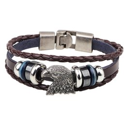 hand bracelet accessories Promo Codes - Hot Sale Multiple Beaded Bracelets Eagle Head Buckles Fashion Jewelry Black Coffee Snake Leather Rope Alloy Hand Accessories Wholesale