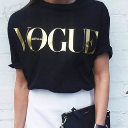 Wholesale Graphic Crew Necks - T-Shirt Gold VOGUE Letter Womens Fashion T Shirts For Women Short Sleeve Crew Neck Graphic Tees Casual Womens Tops 2018 New