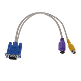 2019 s video tv av PC 15 Pin VGA Stecker auf TV S-Video / Cinch Buchse AV OUT Adapterkabel Gelb Lila rabatt s video tv av