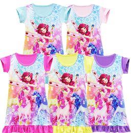 ragazze dei pigiami di cartone animato Sconti 5 Color Girls mia e me Unicorn princess dress 2018 New Children cartoon manica corta Pigiama abiti per bambini B