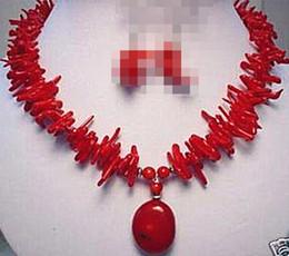 Colar de pingente de coral vermelho on-line-Jew2924 raros ásia jóias red coral ramo e colar de pingente de pérola