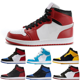Wholesale M Ducks - Top Basketball shoes Men 1 OG Sneakers AAA Quality Mandarin duck black red white men sports shoes athletic trainers sneakers size eur 7-13