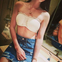 a5144c6365 Sexy Women Tube Top Cross Bra Padded Crop Tops Black White Lace Strapless  Seamless Bandeau Short Tanks Free Size for Girls