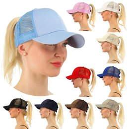 Wholesale child prints - CC Ponytail Cap Messy High Bun Ponytail Adjustable Mesh Trucker Baseball Summer Cap Hat 13 color KKA4383