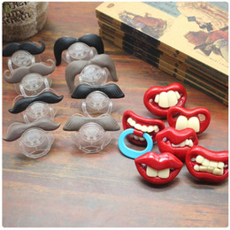 Wholesale Teeth Orthodontic - Funny Teeth Beard Mustache Baby Pacifier Orthodontic Dummy Infant Nipples Silica gel infant Pacifier mix styles
