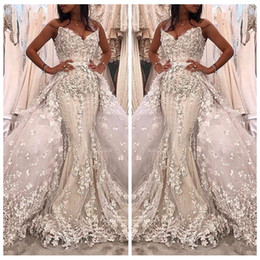 Wholesale made east - Luxurious 2018 Sweetheart Mermaid Detachable Train Wedding Dresses Beaded Bridal Gowns With 3D Floral Adorned Custom Garden Middle East