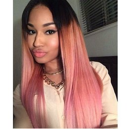 Wholesale Sexy Pink Wigs - Ombre Wigs Sexy Silky Straight Dark Root To Pink Ombre Hair Wig Synthetic Lace Front Wig Top High Quality Women Ombre Lace Wigs