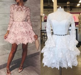 Wholesale yellow pleated mini skirt - Real Image Light Pink Lace Short Prom Dresses Jewel Neck Long Sleeves Tiered Skirt Short Party Dresses White Lace Prom Dresses