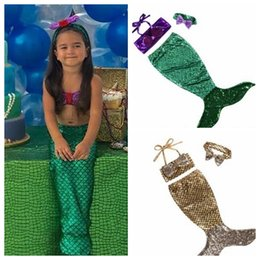 Wholesale Kids Swim Dress - 4pcs 1set Girl Kids Mermaid Tail swimwear swimsuit outfits dress bathing suit costume kids girls swimming suits Bikini Beachwear KKA4481