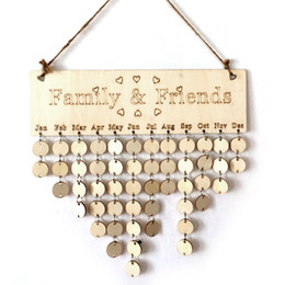 Wholesale Sign Boards - DIY Wooden Birthday Calendar Board Family Friends Birthday Calendar Sign Special Dates Planner Board Hanging Decor Gift