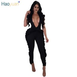 Wholesale Womens Sexy One Piece Bodysuit - HAOYUAN Sexy Rompers Womens 2018 Fashion Deep V Neck Sleeveless Summer Overalls One Piece Full Bodysuit Ruffle Bodycon Jumpsuit