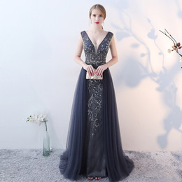 Wholesale Sexy Host - Evening dress banquet party performance host self-cultivation hollow dew fashionable dress
