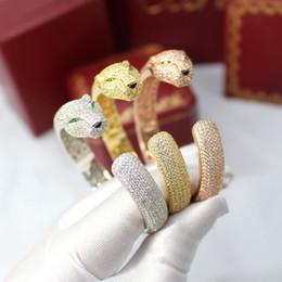 Nouveau bracelet en or avec diamants en Ligne-18K Plaqué Or Marque Bijoux Leopard Bracelets Bracelets Pour Femmes Nouvelle Mode Bracelets Ouverts Plein De Diamant CZ Animal Bracelet Argent Plaqué