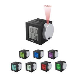 Radios de escritorio online-Nuevo patrón Reloj de proyección Retroiluminación en color Relojes de escritorio digitales electrónicos Pantalla de temperatura Venta caliente en Europa y América 88ym Ww