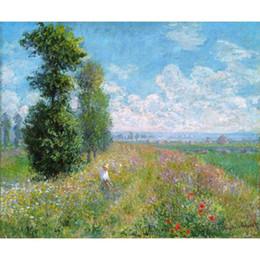 2019 pintura da mão da arte famosa Famosas pinturas a óleo de reprodução de Claude Monet pintados à mão Prado com arte Poplars Canvas pintura da mão da arte famosa barato