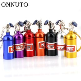 Wholesale Rubber Key Chains - NOS Turbo Nitrogen Bottle Metal Key Chain Key Ring Holder Car Keychain Pendant Jewelry for Women Men Unique Mini Keyring 6C0010