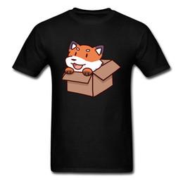 trajes de ação de graças para cães Desconto Cão bonito Na Caixa Dos Desenhos Animados T Shirt Para Homens Dia De Ação De Graças Akita Impressão Presente Masculino Camiseta Costume Loja Plus Size Tops