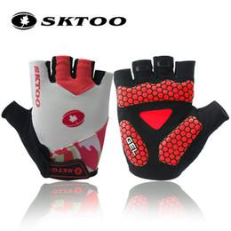 Wholesale cycling gloves tour - Tour De France Gel Cycling Gloves Half Finger Antil-skip Bicycle Gloves MTB Mountain Bike Shockproof Short Gloves For Men women